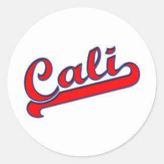Azul rojo del logotipo de Cali California Pegatina Redonda