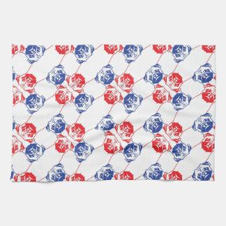 Azul rojo del modelo del barro amasado toallas de cocina