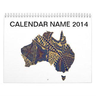 Azul rojo del moreno del Doodle de Australia Calendario De Pared