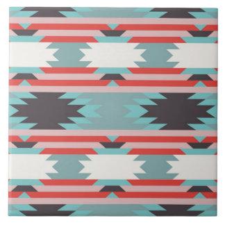 Azul rojo del nativo americano tribal azteca del m teja cerámica