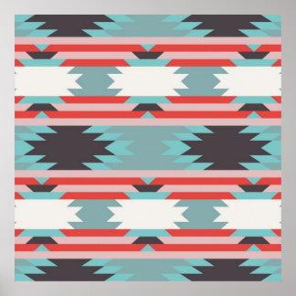 Azul rojo del nativo americano tribal azteca del m poster
