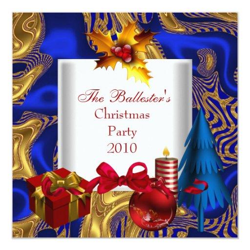 """Azul rojo del oro blanco de la fiesta de Navidad Invitación 5.25"""" X 5.25"""""""
