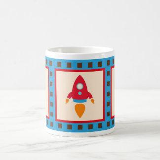 Azul rojo lindo del espacio exterior de Rocket del Taza De Café