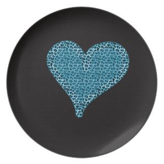 azul romántico del corazón del estampado de animal plato