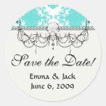 azul romántico del tiff en el damasco elegante pegatina redonda