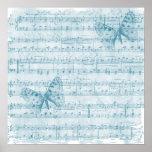 Azul romántico musical de la mariposa impresiones
