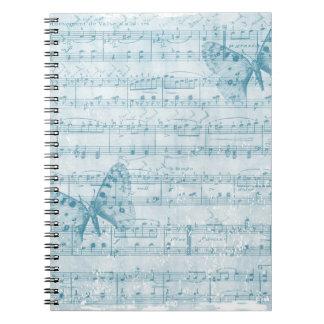 Azul romántico musical de la mariposa cuaderno