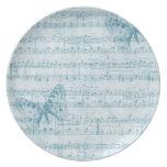 Azul romántico musical de la mariposa platos para fiestas