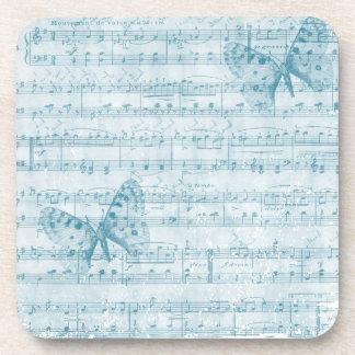 Azul romántico musical de la mariposa posavaso