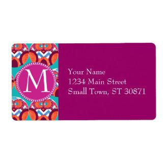 Azul rosado anaranjado púrpura colorido de Chevron Etiqueta De Envío