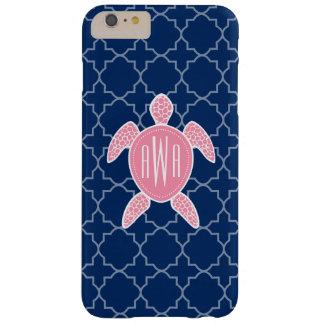 Azul rosado con monograma Quatrefoil de la tortuga Funda Para iPhone 6 Plus Barely There