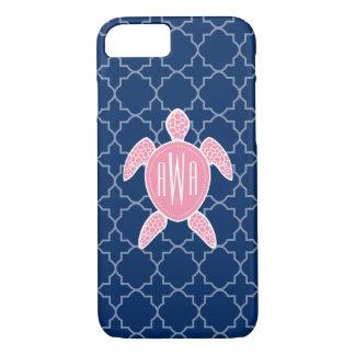 Azul rosado con monograma Quatrefoil de la tortuga Funda iPhone 7
