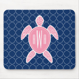 Azul rosado con monograma Quatrefoil de la tortuga Mouse Pads