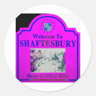 Azul rosado de Shaftesbury Pegatina Redonda