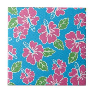 Azul rosado del hibisco azulejo cuadrado pequeño