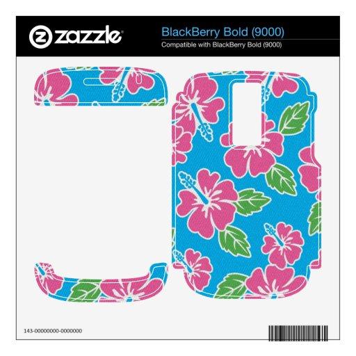 Azul rosado del hibisco BlackBerry bold calcomanía