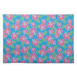 Azul rosado del hibisco mantel individual