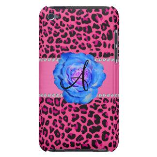 Azul rosado del leopardo del monograma subió Case-Mate iPod touch protector