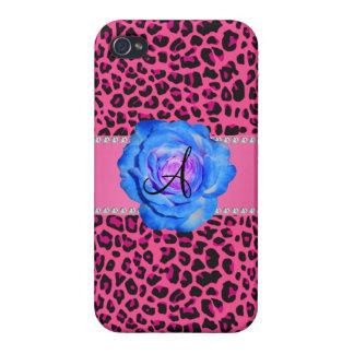 Azul rosado del leopardo del monograma subió iPhone 4 carcasas