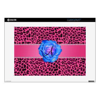 Azul rosado del leopardo del monograma subió portátil skins