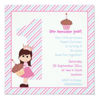 Azul rosado del pequeño de la princesa cumpleaños comunicado personal