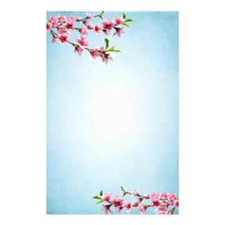 Azul rosado del vintage de las flores de cerezo papeleria personalizada