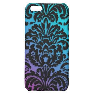 Azul rosado negro de la cubierta floral del iPhone