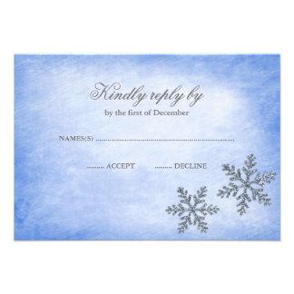 Azul RSVP de los copos de nieve de la chispa del p Invitaciones Personalizada