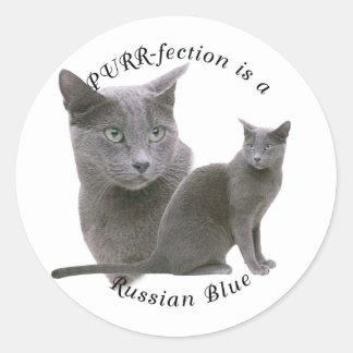 Azul ruso de PURRfection Pegatina Redonda