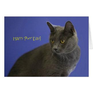 Azul ruso del día feliz del ronroneo por el foco tarjeta de felicitación