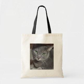 Azul ruso del gato gris bolsa