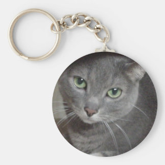 Azul ruso del gato gris llavero redondo tipo pin