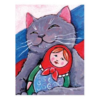 Azul ruso y arte patriótico del gato de la muñeca postal