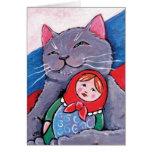 Azul ruso y arte patriótico del gato de la muñeca tarjeta de felicitación