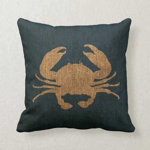 Azul rústico del mar profundo del cangrejo almohadas
