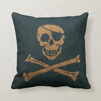 Azul rústico del mar profundo del cráneo del pirat almohada