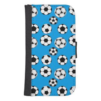 Azul/Samsung de los muchachos del fútbol Fundas Cartera De Galaxy S4