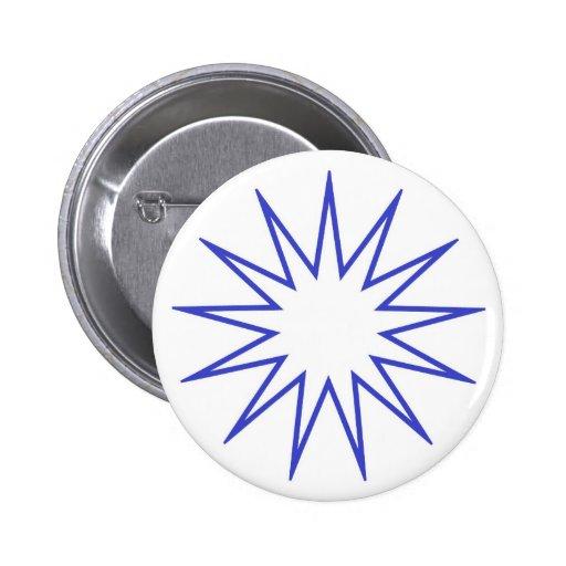 Azul señalado 13 de la estrella pin redondo 5 cm