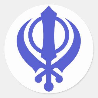 Azul sikh de Khanda Pegatina Redonda