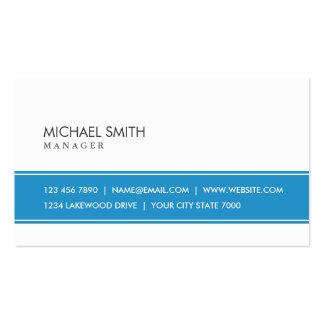 Azul simple llano elegante y blanco profesionales tarjetas de visita
