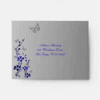Azul, sobre floral gris de la mariposa A2 para