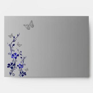"Azul, sobre floral gris de la mariposa para 5"" x7"