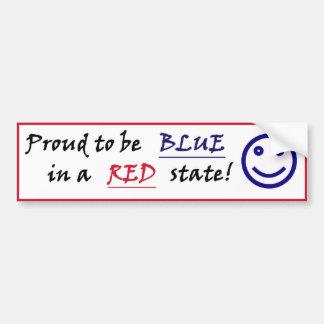 Azul sonriente en una pegatina para el parachoques pegatina para auto
