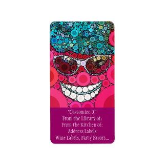 Azul sonriente fresco enrrollado del rosa del gorr etiquetas de dirección