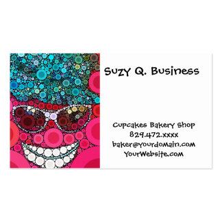 Azul sonriente fresco enrrollado del rosa del tarjetas de visita