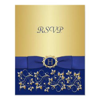 Azul, tarjeta de contestación floral del boda de anuncios