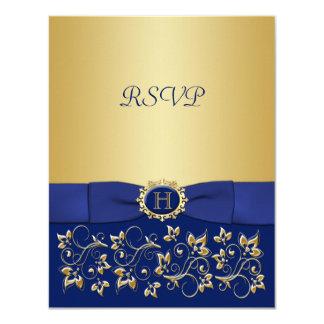 """Azul, tarjeta de contestación floral del boda de invitación 4.25"""" x 5.5"""""""