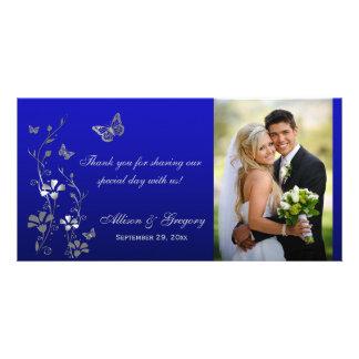 Azul, tarjeta floral de la foto del boda de la tarjeta fotográfica