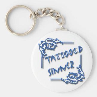 Azul tatuado del pecador llaveros personalizados