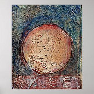 Azul texturizado al sudoeste abstracto de la lona  póster
